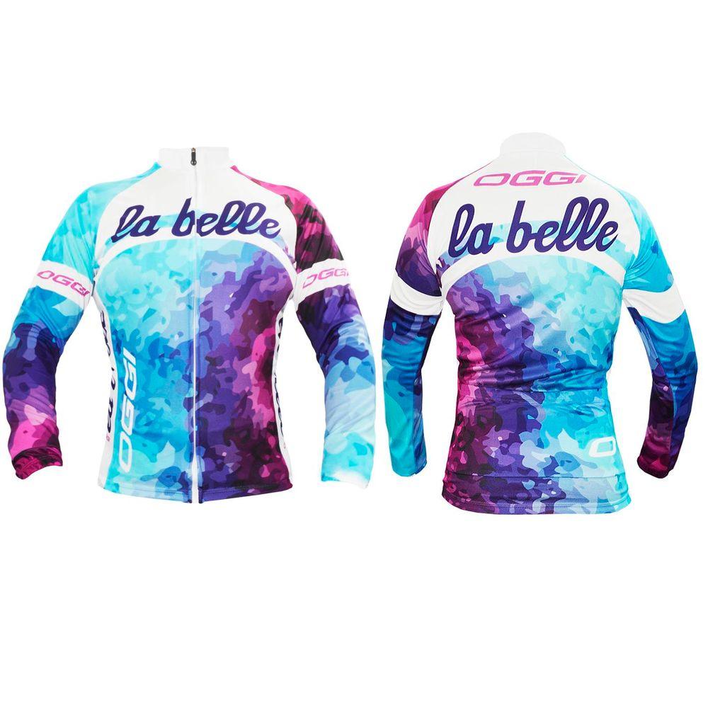 a7a672b07 Camisa feminina de ciclismo Oggi La Belle manga longa - kfbikes