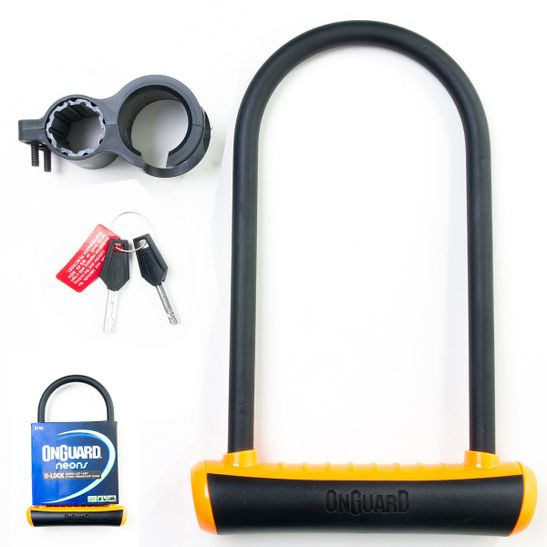 Cadeado-Seguro--para--bicicletas-da-marca-Onguard-em-formato-de-U-na-cor-preta-e-laranja