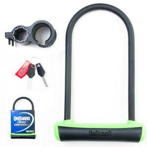 Cadeado-para-bicicletas-e-motos-preto-e-verde-em-formato-de-U-com-chave
