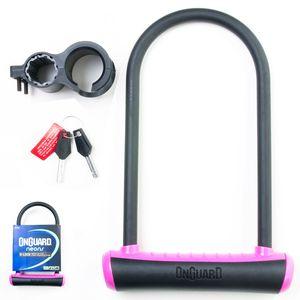 Cadeado-com-Chave-para-bicicletas-marca-Onguard-na-cor-preta-e-rosa