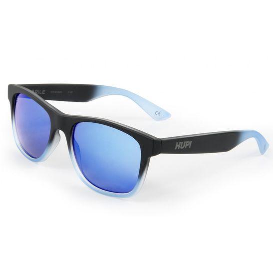 oculos-de-sol-marca-hupi-modelo-brile-na-cor-preta-com-degrade-azul-e-lente-azul-espelhada-com-protecao-uv-400