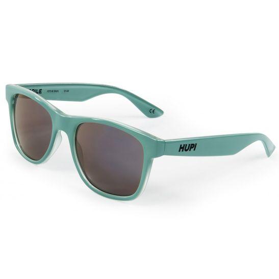 oculos-de-sol-marca-hupi-com-armacao-verde-agua-com-lentes-roxas-espelhadas