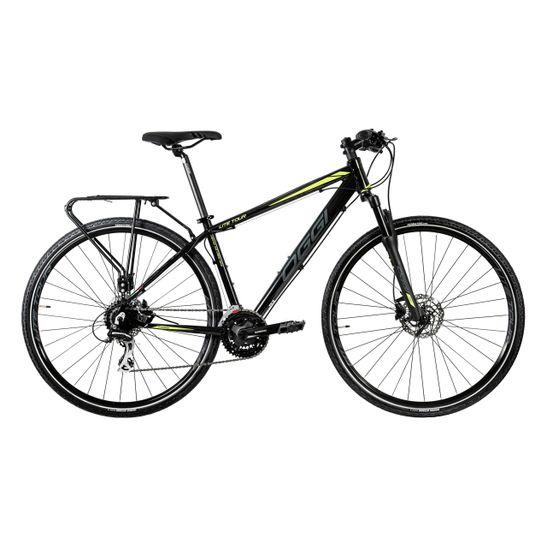 bicicleta-urbana-com-bagageiro-e-suspensao-marca-oggi-modelo-lite-tour--no-tamanho-19-na-cor-preta-e-verde