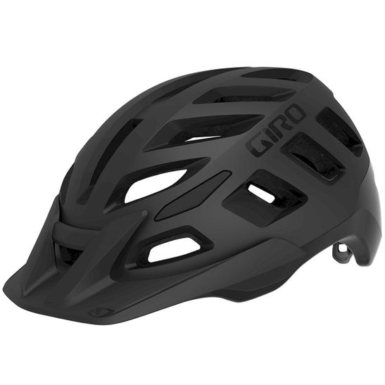 capacete-para-ciclismo-marca-giro-modelo-radix-na-cor-preto-fosco-com-adesivos-pretos-brilhantes-e-aba