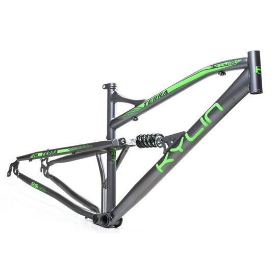 quadro-full-suspension-para-bicicleta-aro-29-marca-kylin-na-cor-cinza-com-verde-visto-de-frente