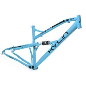 quadro-para-aro-29-full-suspension-marca-kylin-modelo-terra-na-cor-azul-com-grafismo-preto-visto-de-frente