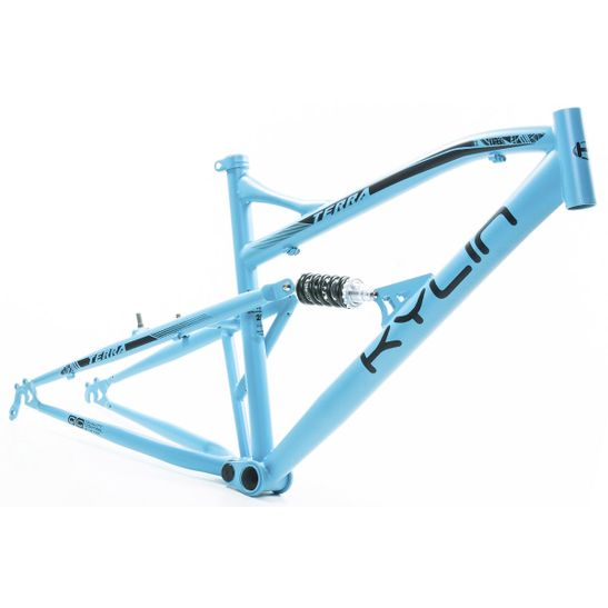 quadro-full-suspension-aro-26-marca-kylin-modelo-terra-na-cor-azul-com-grafismo-preto