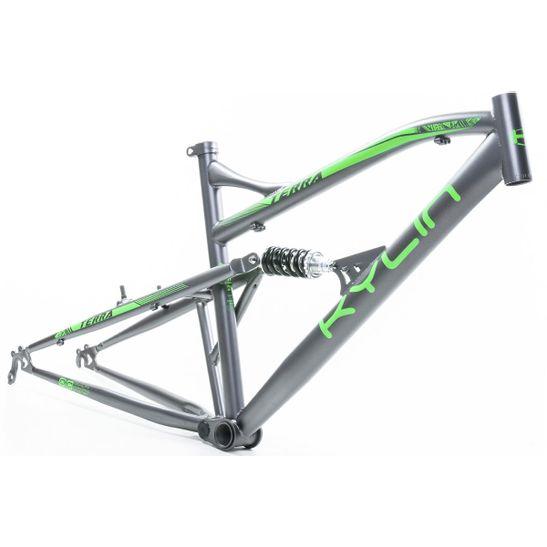 quadro-para-bicicleta-mtb-aro-26-com-suspensao-integrada--marca-kylin-modelo-terra-na-cor-cinza-e-verde