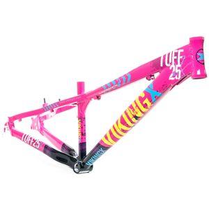 quadro-para-bikes-estilo-freeride-dirt-jump-marca-vikingx-modelo-tuff-x-25-na-cor-rosa-neon-com-preto-e-amarelo-para-aro-26