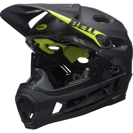 capacete-full-face-bell-super-dh-preto-fosco-com-detalhes-brilhantes-com-amarelo-downhill