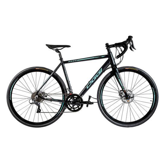 bicicleta-speed-oggi-velloce-veloce-velocce-aro-700-preto-e-verde-tiffany-gravel-freio-a-disco-grupo-claris-resistente