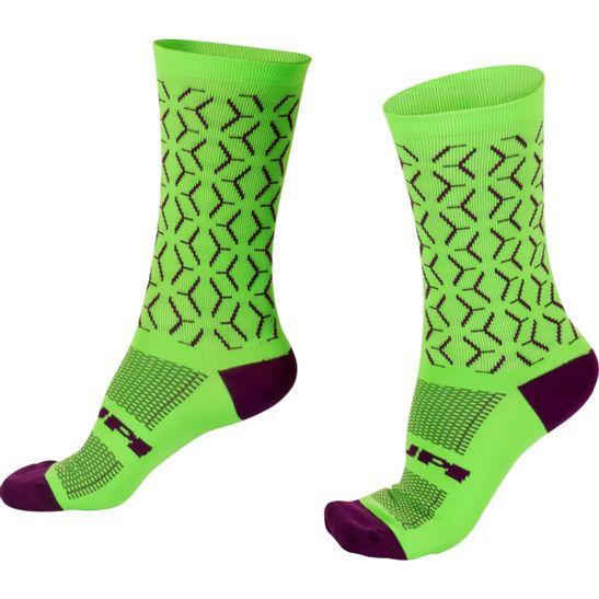 meia-para-ciclismo-e-caminhada-marca-hupi-modelo-labs-na-cor-verde-com-roxo-moderna-cano-medio