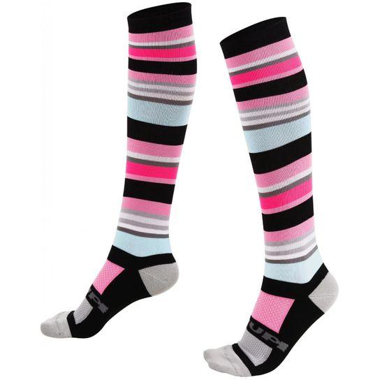 meia-feminina-marca-hupi-modelo-quadra-cano-longo-com-trinta-centimetros-colorida-rosa-com-preto