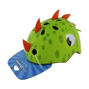 capacete-infantil-kidzamo-dinossauro-3d-verde-com-vermelho-tamanho-pequeno-para-bicicleta-com-regulagem-traseira