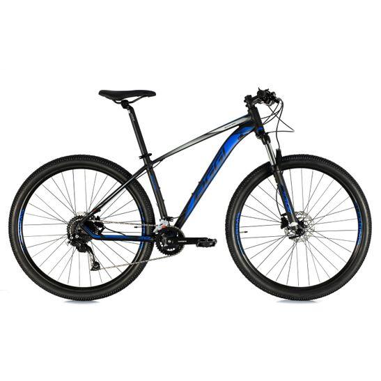 bicicleta-oggi-modelo-7.0-2021-com-conjunto-shimano-alivio-de-18-marchas-2x9-com-freio-a-disco-hidraulico-na-cor-preto-com-azul-e-suspensao-com-trava