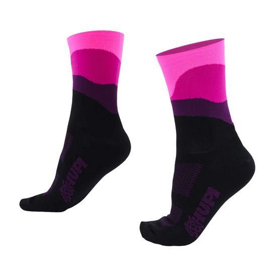 meia-de-ciclismo-feminina-para-pres-pequenos-menores-cano-medio-hupi-lt-modelo-delicata-preto-com-rosa-e-roxo