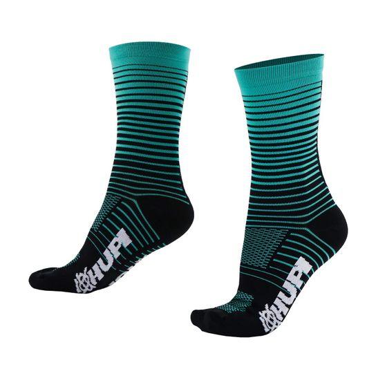 meia-cano-medio-de-alta-qualidade-marca-hupi-modelo-hyperline-verde-com-preto-listrada-ciclismo-e-corrida