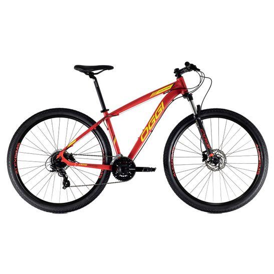 bicicleta-oggi-modelo-hacker-hds-aro-29-com-grupo-shimano-de-24-marchas-3x8-com-freios-a-disco-hidraulico-na-cor-vermelho-com-amarelo