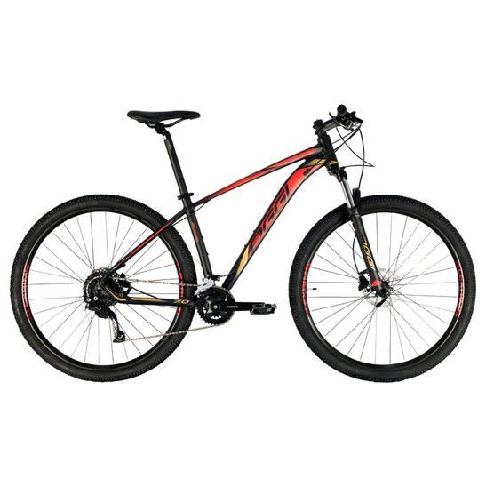 bicicleta-mtb-mountain-bike-oggi-big-wheel-7.0-preto-com-vermelho-e-dourado-conjunto-shimano-alivio-2x9-18-marchas-9v-suspensao-com-trava