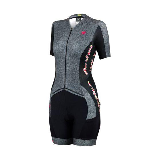 macaquinho-feminino-de-ciclismo-free-force-new-euphoria-preto-com-cinza-mescla-com-flores-de-alta-qualidade-ziper-inteiro-automatico