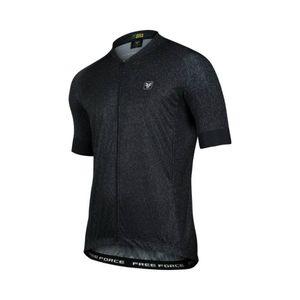 camisa-de-ciclismo-masculina-free-force-modelo-blackout-preto-com-detalhes-cinza-de-alta-qualidade-com-gola-baixa-3-bolsos-traseiros-ziper-automatico