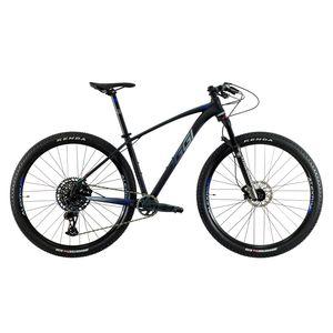bicicleta-mountain-bike-aro-29-oggi-7.6-sram-gx-eagle-12-velocidades-cassete-10-52-com-suspensao-a-ar-manitou-machete-com-trava-no-guidao-preto-com-azul