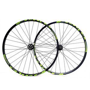roda-mountain-bike-sentec-comp-rolamentada-em-aluminio-de-alta-qualidade-preto-com-verde-com-eixo-de-12mm-e-15mm-resistente