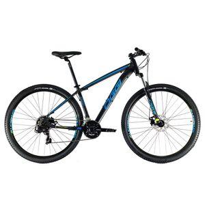 bicicleta-moutain-bike-mtb-oggi-hacker-sport-preto-com-azul-e-verde-transmissao-shimano-com-suspensao